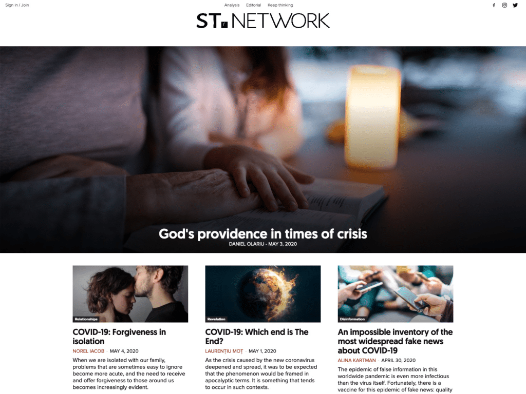 The ST.network website homepage.